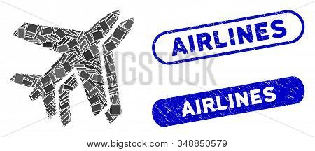 Collage Airlines And Rubber Stamp Seals With Airlines Text. Mosaic Vector Airlines Is Composed With