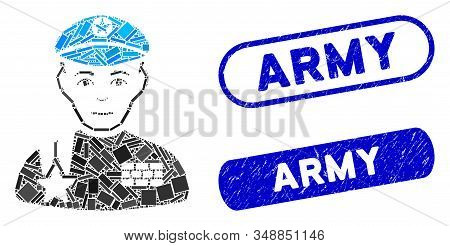 Mosaic Army General And Distressed Stamp Watermarks With Army Phrase. Mosaic Vector Army General Is