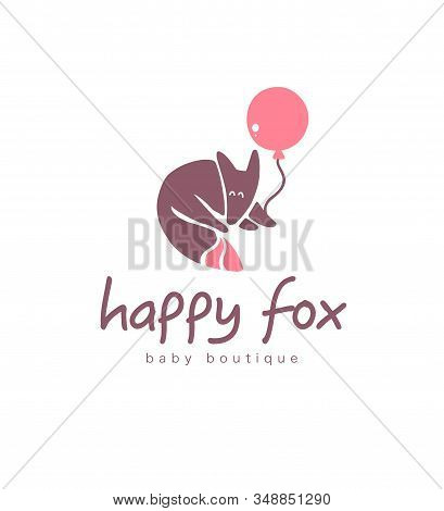 Logo Design For Kid Toys Store, Market, Boutique With Cute Fox  Hold Air Balloon Character Silhouett