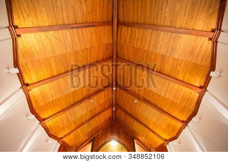 Wooden Ceiling Detail In A Building, Interior Wooden Ceilings, Artistic Background And Interesting I