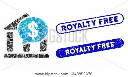Mosaic Bank Message And Distressed Stamp Seals With Royalty Free Text. Mosaic Vector Bank Message Is