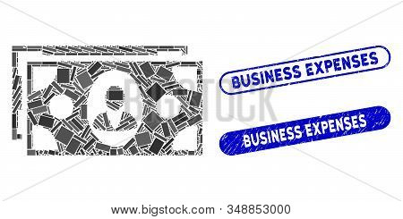 Mosaic Banknotes And Grunge Stamp Watermarks With Business Expenses Phrase. Mosaic Vector Banknotes