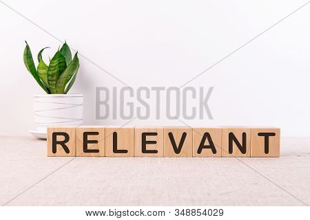 Relevant Word Made With Building Blocks On Light Background