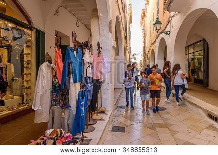 Menorca, Spain - October 14, 2019: Street With Shops In The Old Town Of Ciutadella