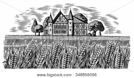 Brewery On The Background Of Wheat And Barley. Scenic View Of Rural Landscape, Village Field And Hil