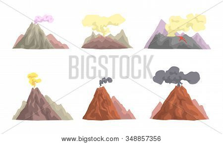 Volcano Eruption Collection, Volcanic Activity With Smoke Vector Illustration