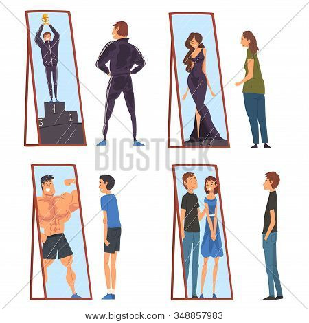 Collection Of People Standing In Front Of Mirrors Looking At Their Reflection And Imagine Themselves
