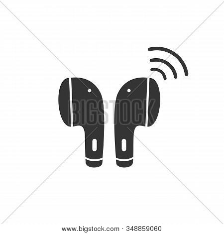 Earphone Bluetooth Icon Design. Earphone Icon In Modern Flat Style Design. Vector