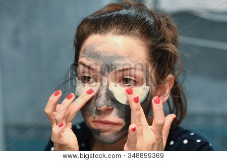 Unpleasant Feeling From The Mask For The Face. A Young Woman Has An Unpleasant Side Effect From Test