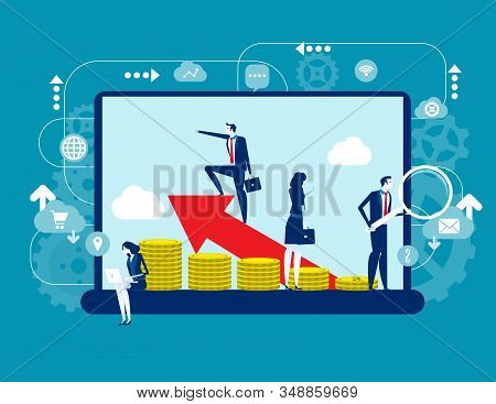 Business People Applies Technology To Improve Money Activities. Concept Business Vector Illustration