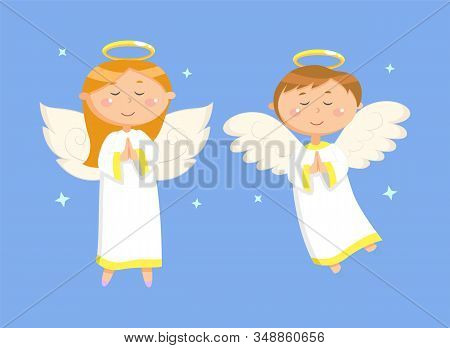 Holiday Card Decorated By Glossy Praying Girl And Boy On Blue, Portrait View Of Flying Couple Of Ang
