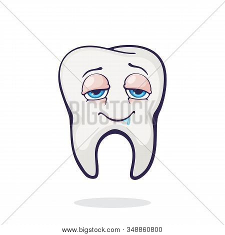 Vector Illustration. Satisfied Smiling Healthy Adult Human Tooth With Eyes After Eating. Symbol Of S
