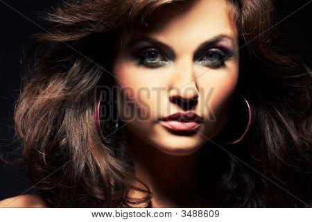 Brunette Girl Posing In Studio