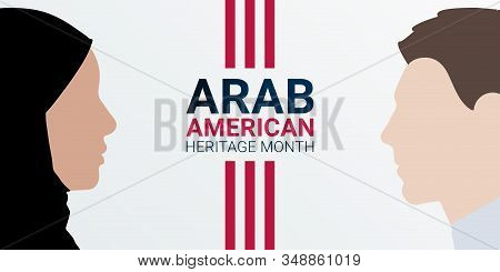 National Arab American Heritage Month - April - Banner Template With Arab Male And Female Faces, As