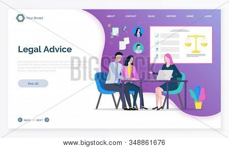 Legal Advice App, Adviser Woman Discussing With Clients, Justice Online Consultation. Man And Woman