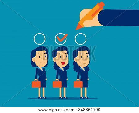Manager Hand Selection Employee Appropriate Candidate. Concept Business Best Candidate Vector Illust