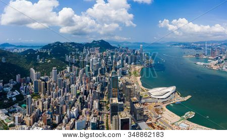 Hong Kong island, Hong Kong 10 September 2019: Hong Kong city skyline