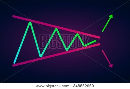 Symmetrical Triangle Chart Patterns Vector Icon Illustration - Formation Price Figure, Technical Ana