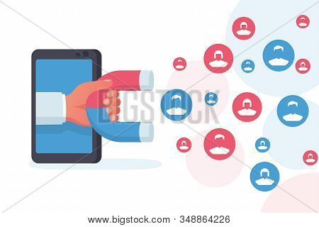 Customer Acquisition Concept. Hand With A Magnet Attracts New Consumers. Followers And Likes. Smartp
