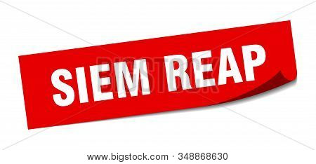 Siem Reap Sticker. Siem Reap Red Square Peeler Sign