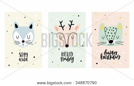 Collection Of Cards With Cute Animals For Baby Shower, Birthday Card, Kids And Baby T-shirts. Hand D