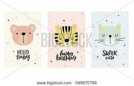 Cute Collection Of Cards With Funny Animals For Baby Shower, Birthday Card, Kids And Baby T-shirts.