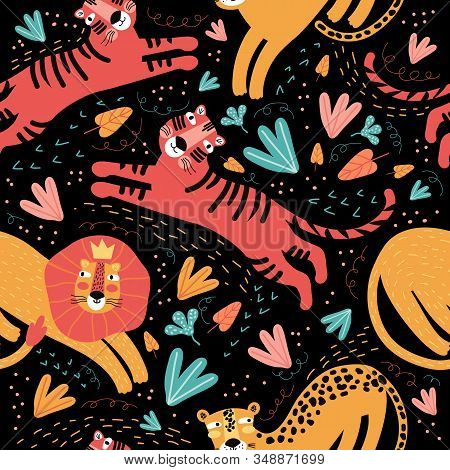 Seamless Pattern Wild Animal And Tropic Plants. Funny Cartoon Character Tiger, Leopard, Jaguar, Lion