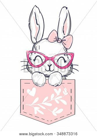 Hand Drawn Happy Rabbit Is Sitting In A Pink Pocket With Flowers On The White Background. Childish P