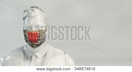 Wuhan Virus Copyspace Backdrop with Man Wearing Safety Mask 3d Render
