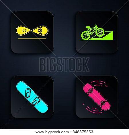 Set Skateboard Trick, Skateboard Trick, Snowboard And Bicycle On Street Ramp. Black Square Button. V