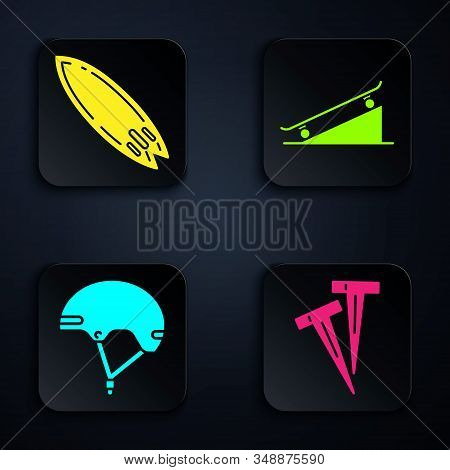Set Pegs For Tents, Surfboard, Helmet And Skateboard On Street Ramp. Black Square Button. Vector