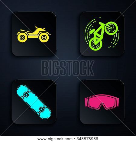 Set Ski Goggles, All Terrain Vehicle Or Atv Motorcycle, Skateboard Trick And Bicycle Trick. Black Sq