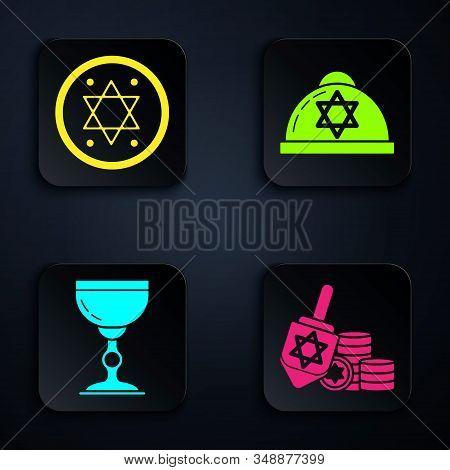 Set Hanukkah Dreidel And Coin, Jewish Coin, Jewish Goblet And Jewish Kippah With Star Of David. Blac