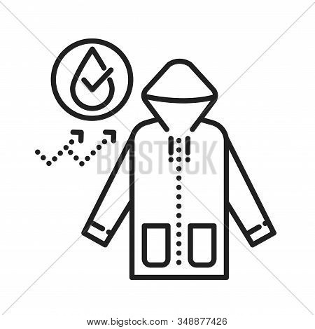 Waterproof Cloth Black Line Icon. Water Repellent Outerwear Concept. Impermeable Textile, Fabric Sig