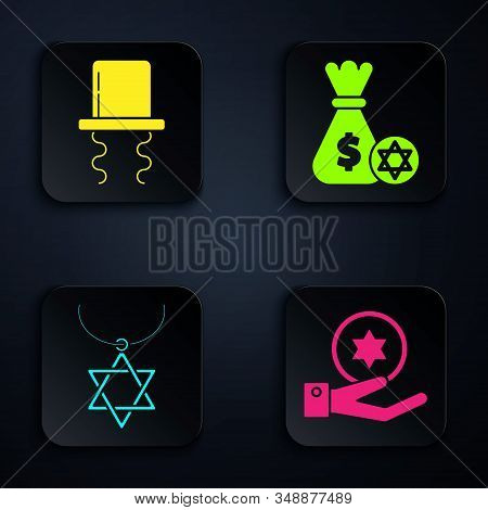 Set Jewish Coin On Hand, Orthodox Jewish Hat With Sidelocks, Star Of David Necklace On Chain And Jew