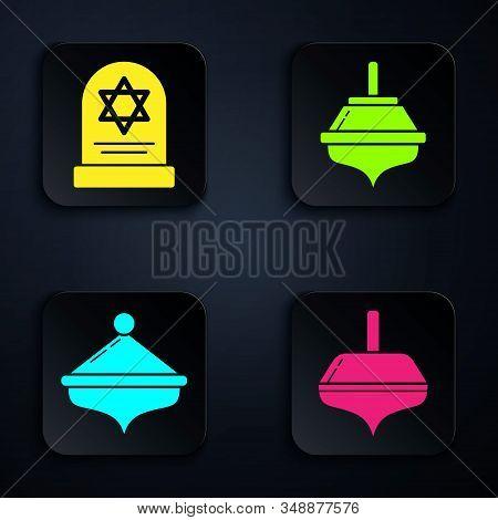 Set Hanukkah Dreidel, Tombstone With Star Of David, Hanukkah Dreidel And Hanukkah Dreidel. Black Squ