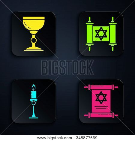 Set Torah Scroll, Jewish Goblet, Burning Candle In Candlestick And Torah Scroll. Black Square Button