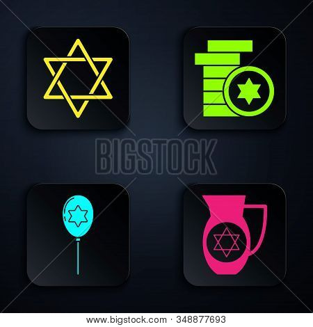 Set Decanter With Star Of David, Star Of David, Balloons With Ribbon With Star Of David And Jewish C