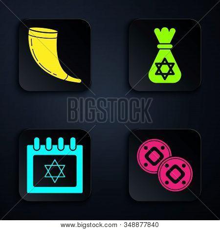 Set Jewish Coin, Traditional Ram Horn, Shofar, Jewish Calendar With Star Of David And Jewish Money B