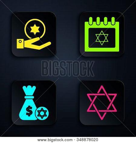 Set Star Of David, Jewish Coin On Hand, Jewish Money Bag With Star Of David And Coin And Jewish Cale
