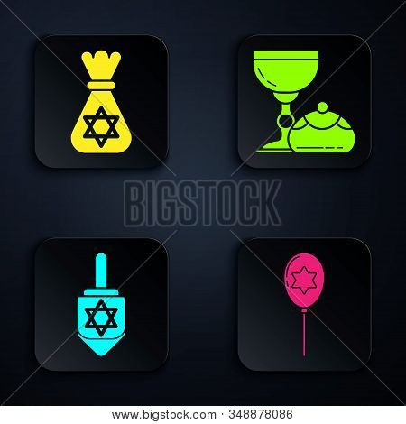 Set Balloons With Ribbon With Star Of David, Jewish Money Bag With Star Of David, Hanukkah Dreidel A