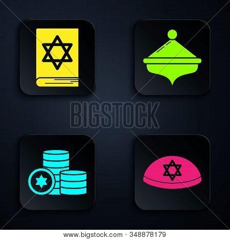 Set Jewish Kippah With Star Of David, Jewish Torah Book, Jewish Coin And Hanukkah Dreidel. Black Squ