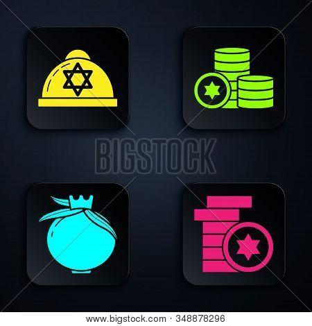 Set Jewish Coin, Jewish Kippah With Star Of David, Pomegranate And Jewish Coin. Black Square Button.