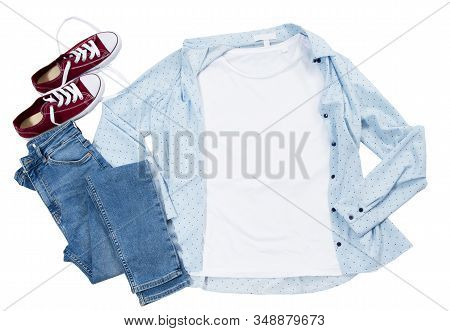White T Shirt Mockup Top View Isolated, Blue Casual Shirt And Stylish Red Sneakers