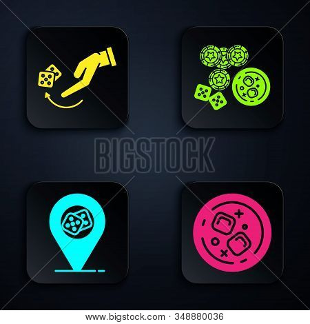 Set Glass Of Whiskey And Ice Cubes, Human Hand Throwing Game Dice, Casino Location And Casino Chips,