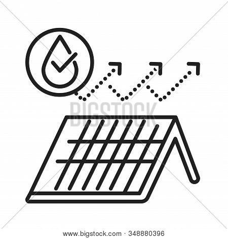 Waterproof Roof Tile Black Line Icon. Water Repellent Coating Concept. Impermeable Material Sign. Pi
