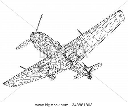Old German Military Aircraft. Wireframe Airplane Isolated On A White Background. 3d. Vector Illustra