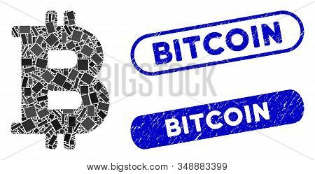 Mosaic Bitcoin And Corroded Stamp Seals With Bitcoin Text. Mosaic Vector Bitcoin Is Composed With Ra