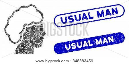 Mosaic Blonde Profile And Corroded Stamp Watermarks With Usual Man Phrase. Mosaic Vector Blonde Prof