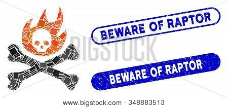 Collage Bones Fire And Rubber Stamp Seals With Beware Of Raptor Phrase. Mosaic Vector Bones Fire Is